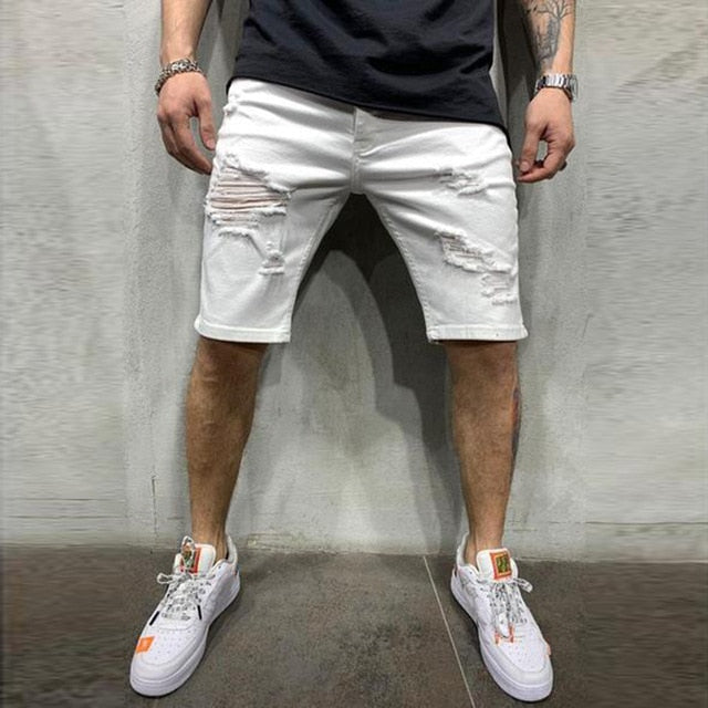 Distressed Ripped Shorts in White