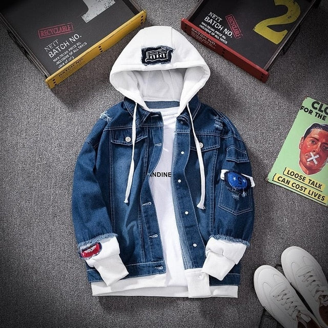 Denim Hoodie in Dark Blue White
