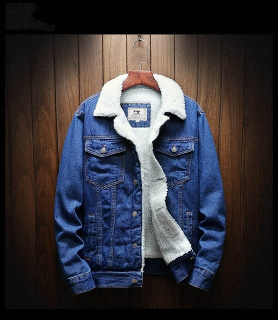 Denim Jacket with Wool Lining in Blue