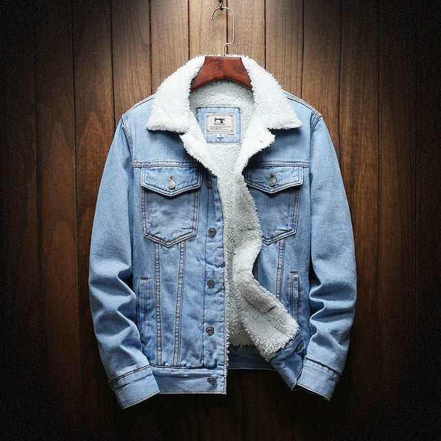 Denim Jacket with Wool Lining in Sky