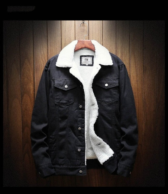 Denim Jacket with Wool Lining in Black