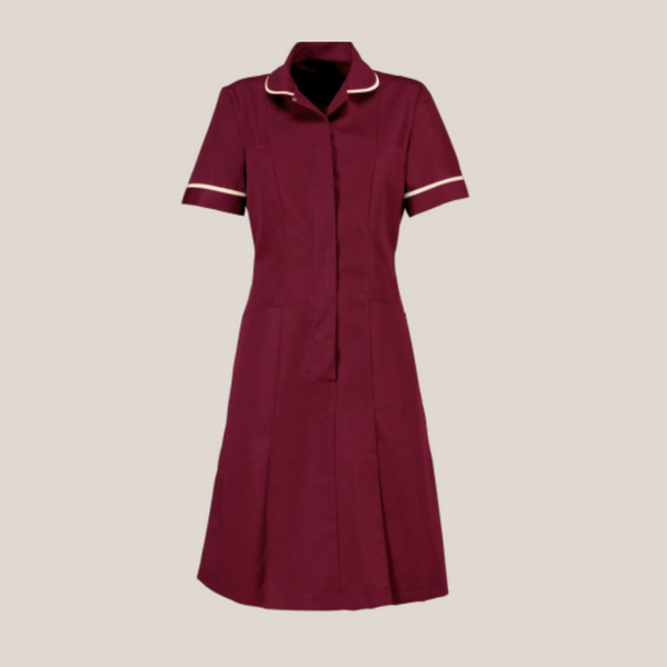 Halton Deep Coloured Classic Collar Healthcare Dress in Unhemmed