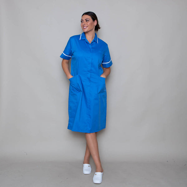 Farleigh Zip Front Blue Revere Collar Nurse Dress (Unhemmed / Extra Tall)