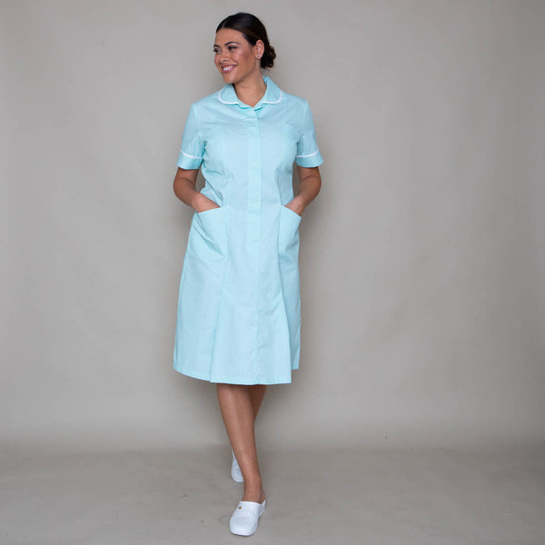 Halton Striped Classic Collar Healthcare Dress in Unhemmed
