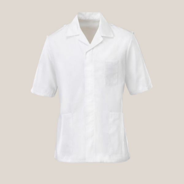 Osler Men's White Classic Collar with Epaulette Loops Tunic
