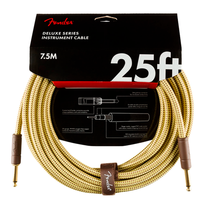 Cable Conexión Fender Deluxe 25' Inst Cable Tweed - 7.5 Mtrs