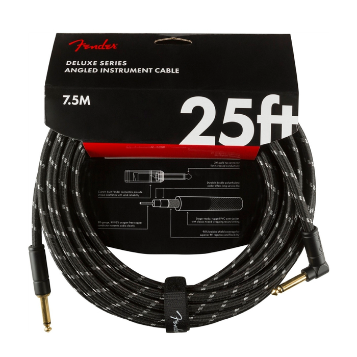 Cable Conexión Fender Deluxe 25' Angl Inst Cable Black Tweed - 7.5 Mtrs