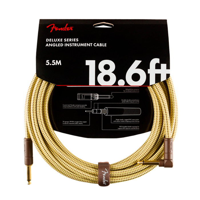 Cable Conexión Fender Deluxe 18.6' Angl Inst Cable Tweed - 5.5 Mtrs