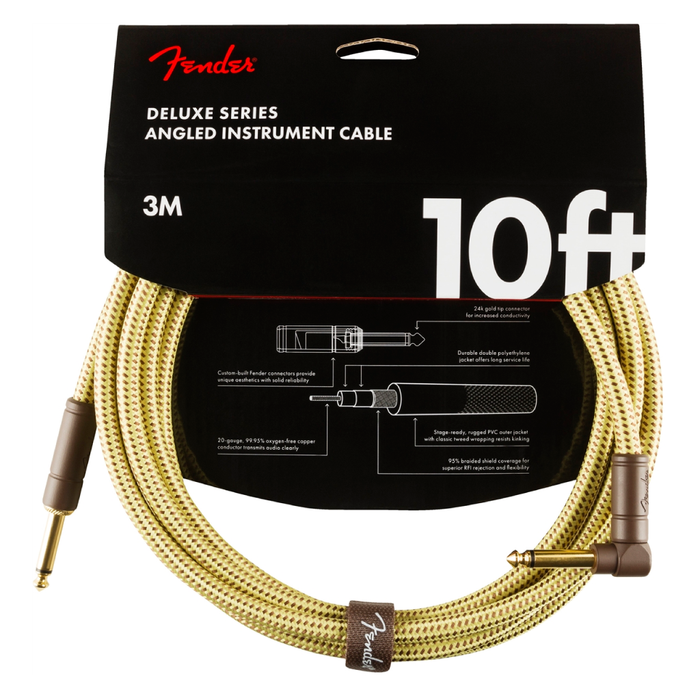 Cable Conexión Fender Deluxe 10' Angl Inst Cable Tweed - 3 Mtrs