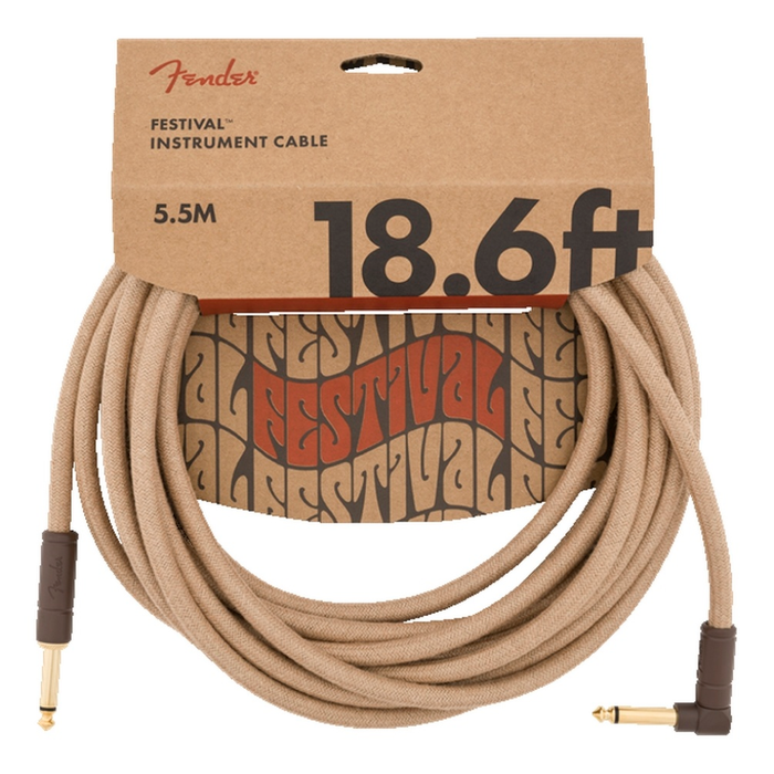 Cable Conexión Fender 18.6' Ang Cable, Pure Hemp Natural - 5.5 Mtrs