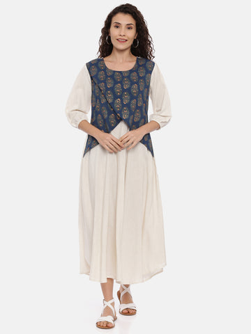 Arana Women's Cotton Kurti Dual Color With 3/4 Sleeve With Elastic Gathering