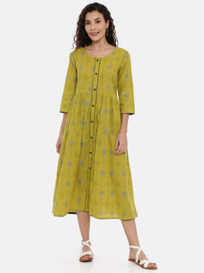 Arana Women's Cotton Flax Kurti 3/4 Sleeve With Full Body Print and Front Full Button