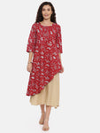 Arana Women's Barn Red double layered Kurti