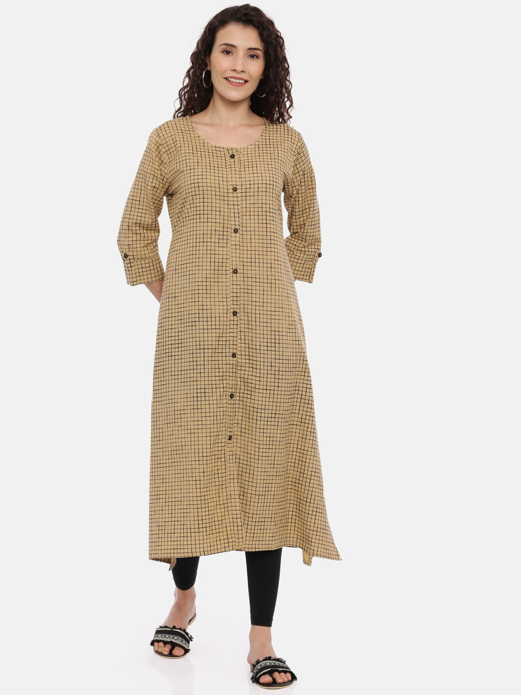 Arana Women's Plain Cotton Flax Front Full Button Straight Cut Kurti With Roll Up Sleeve