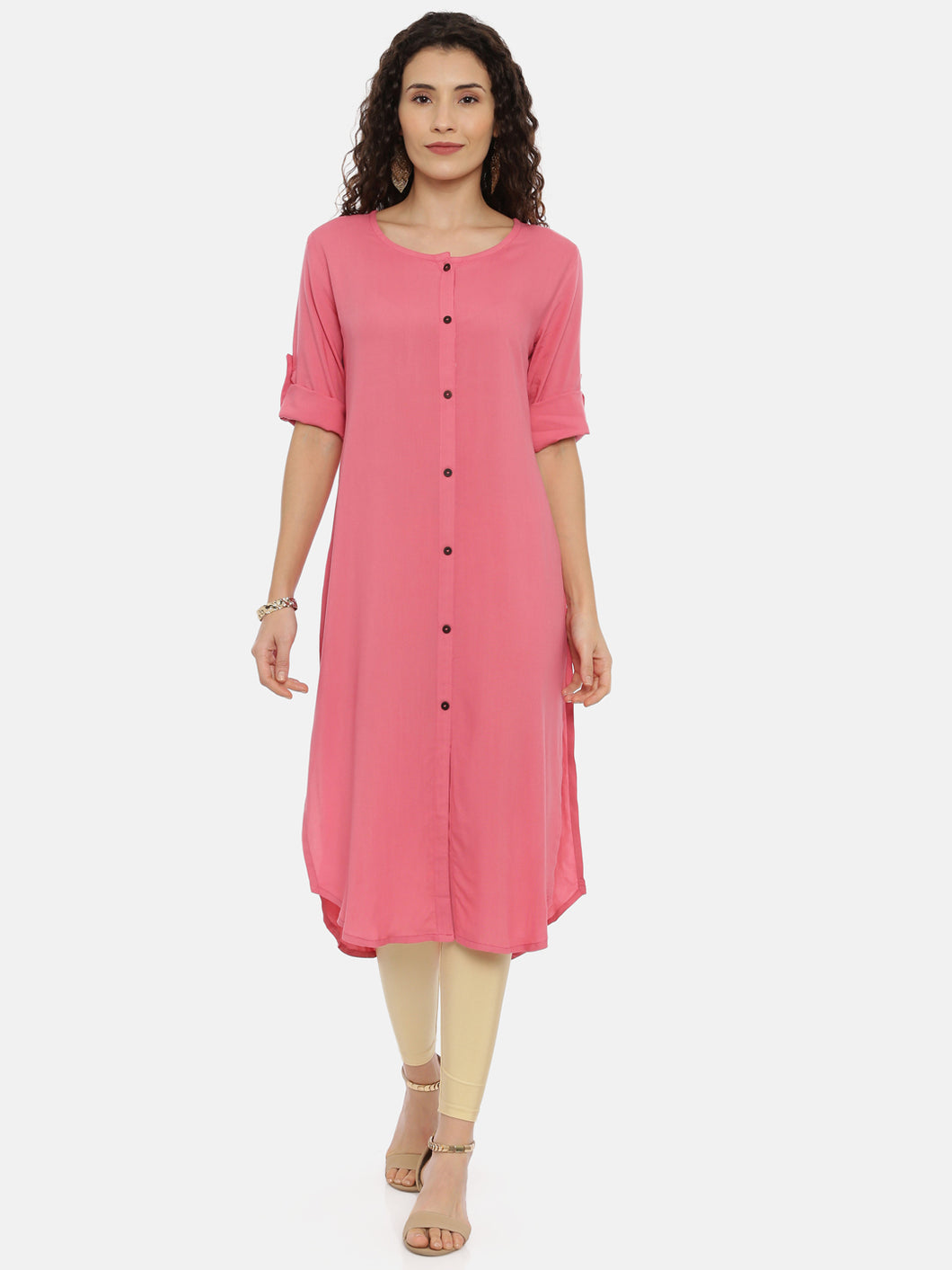 Arana Women's Plain Rayon Front Full Button Straight Cut Pink Colour Kurti With Roll Up Sleeve