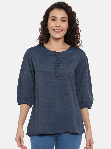 Arana Women's Rayon Blend Top With Round Neck With Ruffles