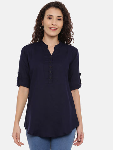 Arana Women's Rayon Blue Colour Plain Top