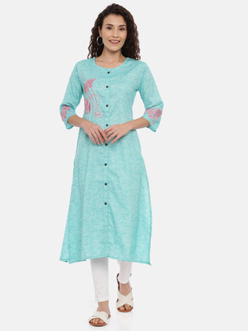Arana Women's Rayon A-Line Front Full Button Kurti With 3/4 Sleeve