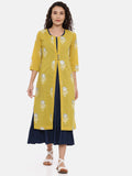 Arana Women's Designer Double Layered Kurta, Navy Blue Inner Layer With Yellow