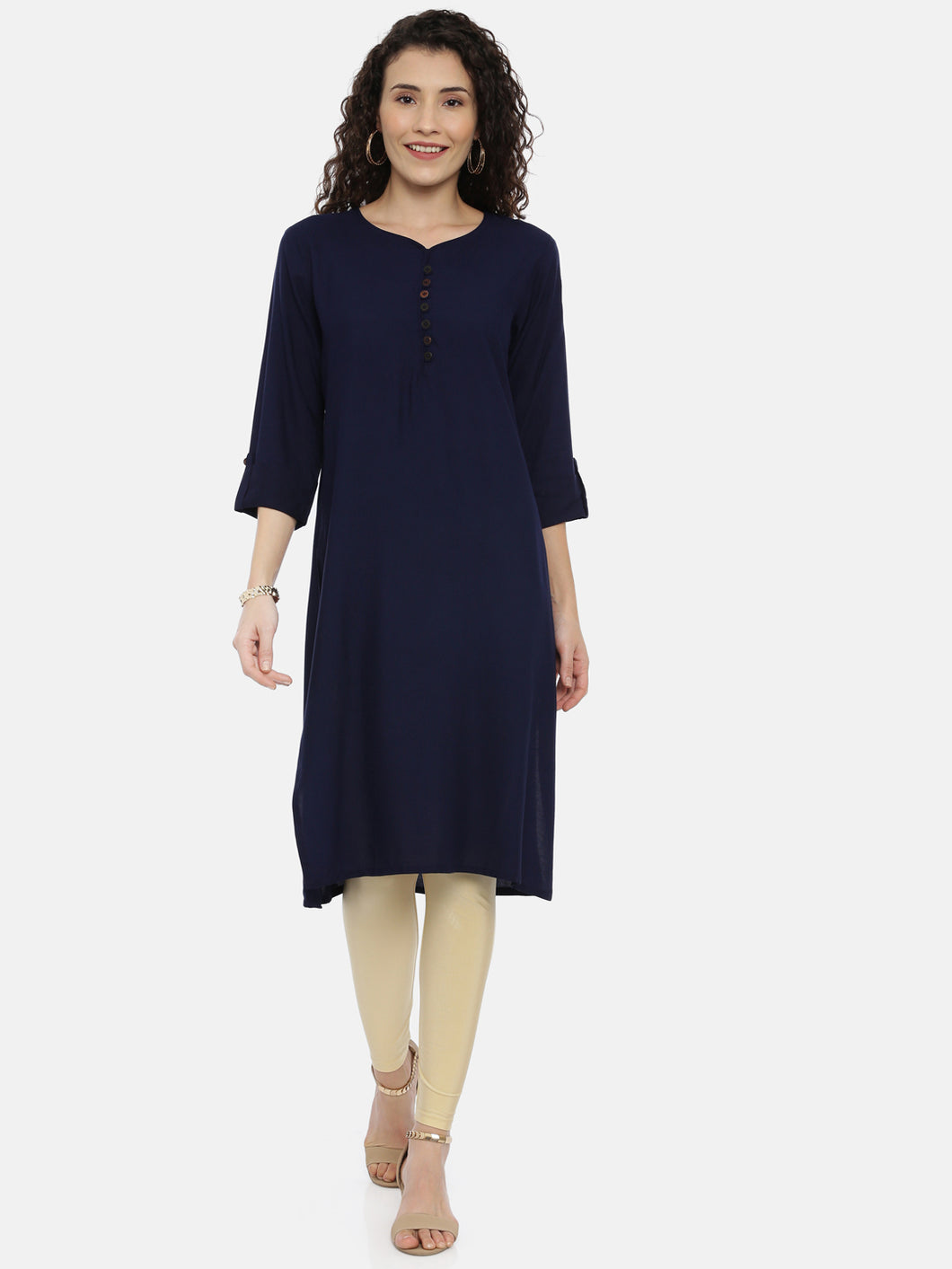 Arana Women's Plain Navy Blue Rayon Straight Cut kurti With Roll Up Sleeve