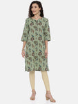 Arana Women's Plain Cotton Flx Printed Gorgeous Straigth Cut Kurti With 3/4 Sleeve