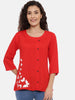 Arana Women's Rayon Printed Red Top With Full Button Front