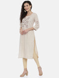 Arana Women's Plain Cotton Blend Embroidary Straigth Cut Kurti With 3/4 Sleeve