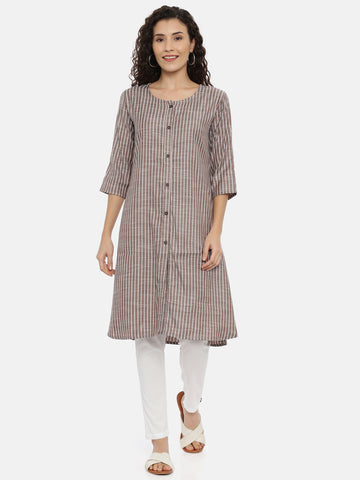 Arana Women's Rayon A-Line Full Button kurti With 3/4 Sleeve Kurti