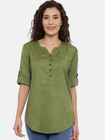 Arana Women's Rayon Blend Olive Green Color Plain Top With V-Shape Neck