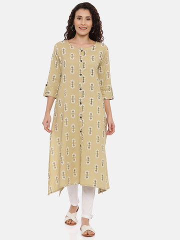 Arana Women's cotton flax A-Line Front Full Button Kurti With 3/4 sleeve