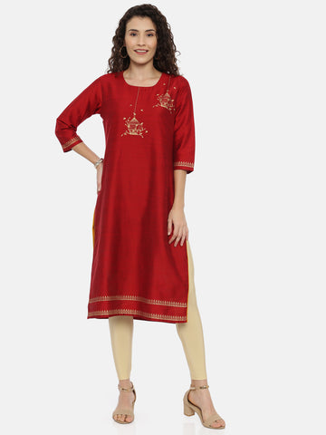 Arana Women's Cotton and Silk Clubbed Red Colour Bird Nest Printed Kurta