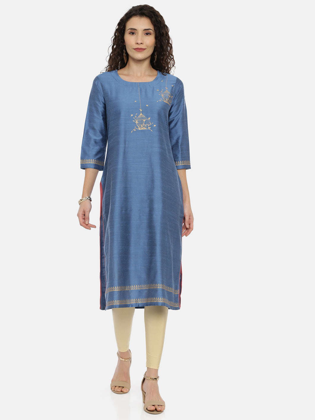 Arana Women's Plain Cotton Silk Clubbed Printed Gorgeous Straigth Cut Kurti With 3/4 Sleeve