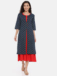 Arana Women's Double Layered Kurta With Printed Outer Layer