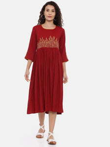 Arana Women's Dress With Rectangular Neck and Three Fourth Sleeve Maroon colour