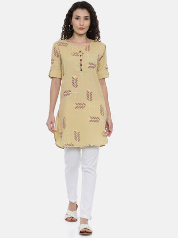 Arana Women's Cotton Flax Fabric Creame Colour Round Buttom Short Kurti