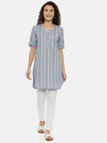 Arana Women's Cotton Flax Fabric Round Buttom short Kurti