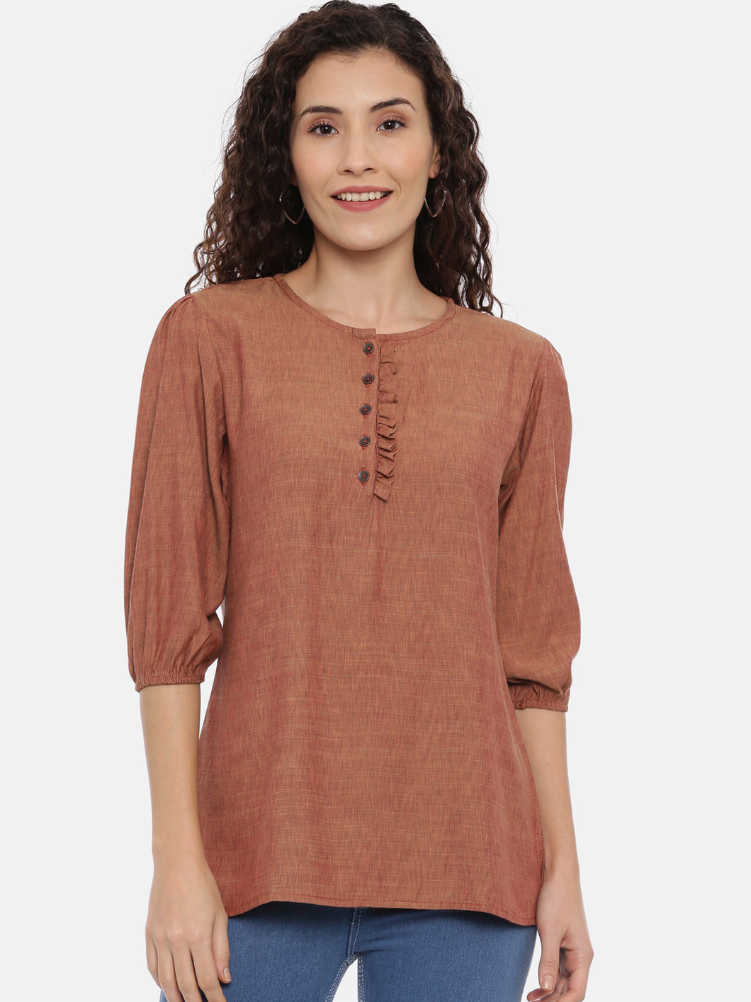 Arana Women's Rayon Blend Coffee Color Top With Round Neck With Ruffles