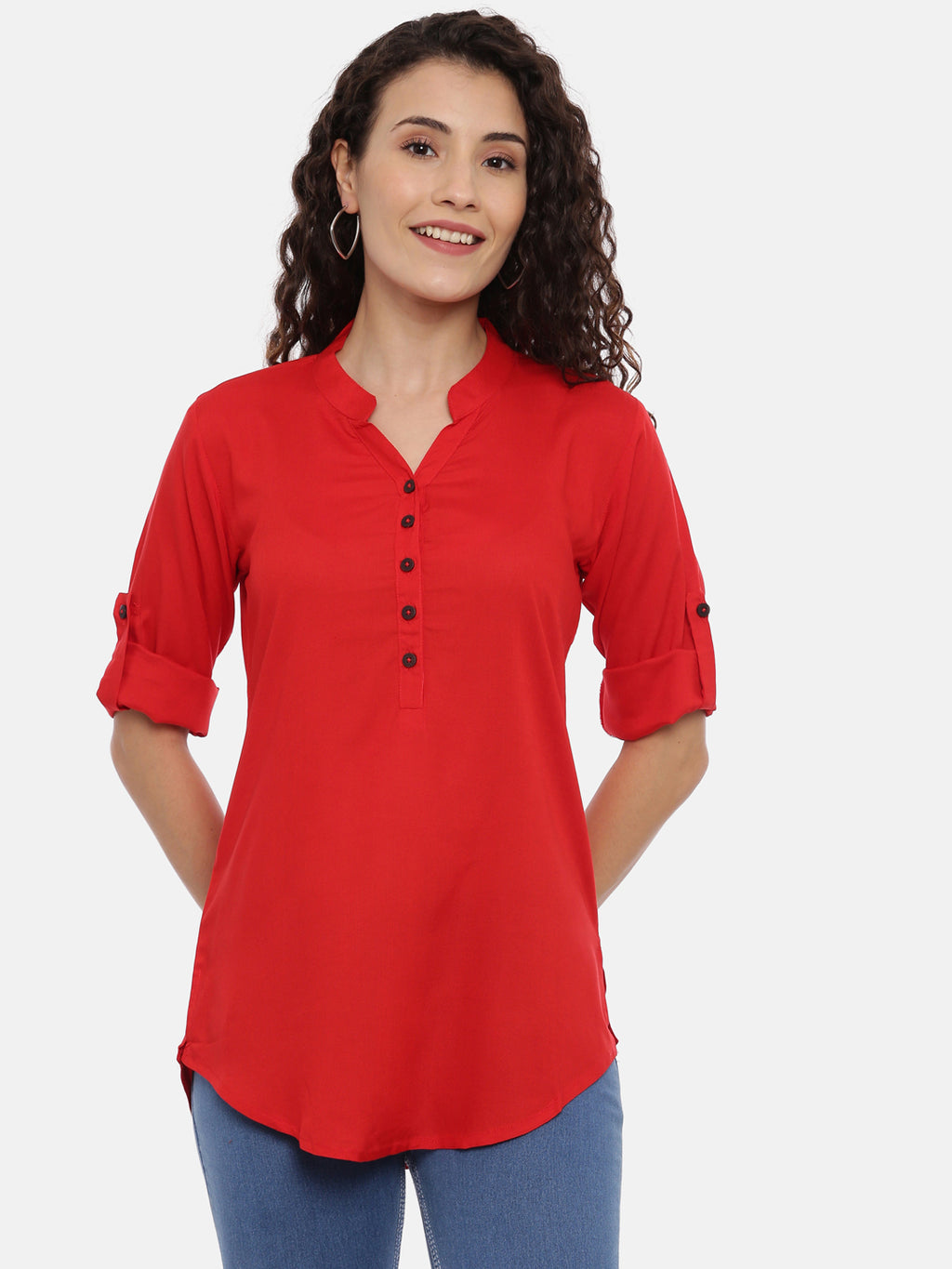 Arana Women's Rayon Red Colour Plain Top
