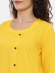 Arana Women's Rayon Printed Yellow Color Top With Front Full Button