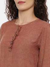Load image into Gallery viewer, Arana Women's Rayon Blend Coffee Color Top With Round Neck With Ruffles