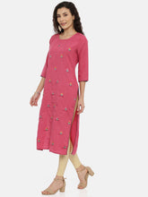 Load image into Gallery viewer, Arana Women's Rayon Blend Straigth Cut Full Embroidary KurtI