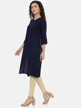 Load image into Gallery viewer, Arana Women's Plain Navy Blue Rayon Straight Cut kurti With Roll Up Sleeve