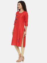 Load image into Gallery viewer, Arana Women's Cotton and Silk Clubbed Red Colour Flower Printed Kurti