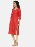 Arana Women's Cotton and Silk Clubbed Red Colour Flower Printed Kurti