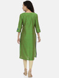 Arana Women's Cotton and Silk Clubbed Green Colour Flower Printed Kurti