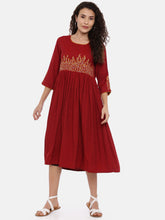 Load image into Gallery viewer, Arana Women's Dress With Rectangular Neck and Three Fourth Sleeve Maroon colour