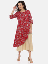 Load image into Gallery viewer, Arana Women's Barn Red double layered Kurti