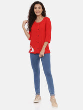 Load image into Gallery viewer, Arana Women's Rayon Printed Red Top With Full Button Front