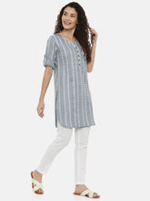 Load image into Gallery viewer, Arana Women's Cotton Flax Fabric Round Buttom short Kurti