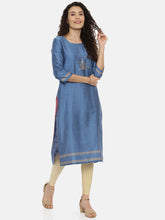 Load image into Gallery viewer, Arana Women's Plain Cotton Silk Clubbed Printed Gorgeous Straigth Cut Kurti With 3/4 Sleeve